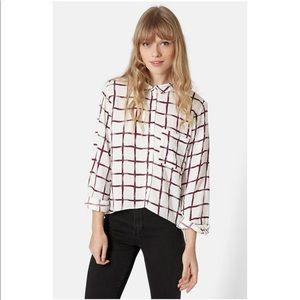 Topshop Windowpane Curve Hem Shirt - Burgundy